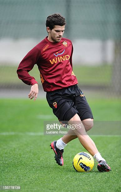 Fernando Gago of AS Roma runs with the ball during a AS Roma training session at Centro Sportivo Fulvio Bernardini on December 14 2011 in Rome Italy