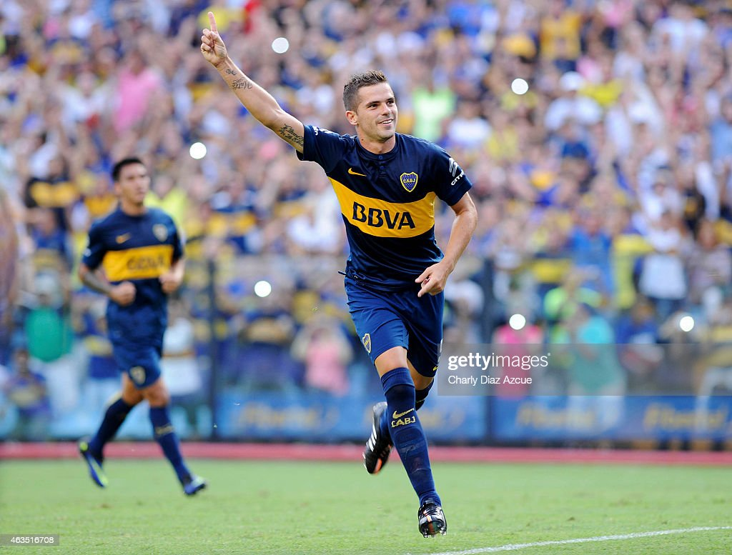 Boca Juniors: Fernando Gago Of Boca Juniors Celebrates After Scoring The