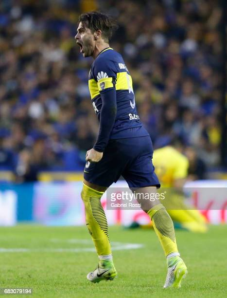 Fernando Gago of Boca Juniors celebrates after scoring the first goal of his team during a match between Boca Juniors and River Plate as part of...