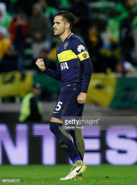 Fernando Gago of Boca Juniors celebrates after scoring the third goal of his team through a penalty kick during a match between Aldosivi and Boca...