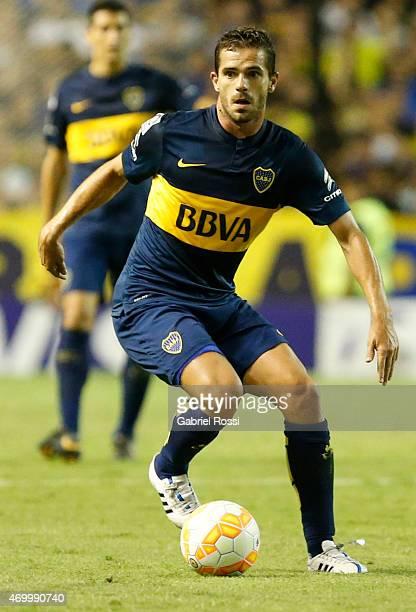 Fernando Gago of Boca Juniors drives the ball during a match between Boca Juniors and Palestino as part of Group 5 of Copa Bridgestone Libertadores...