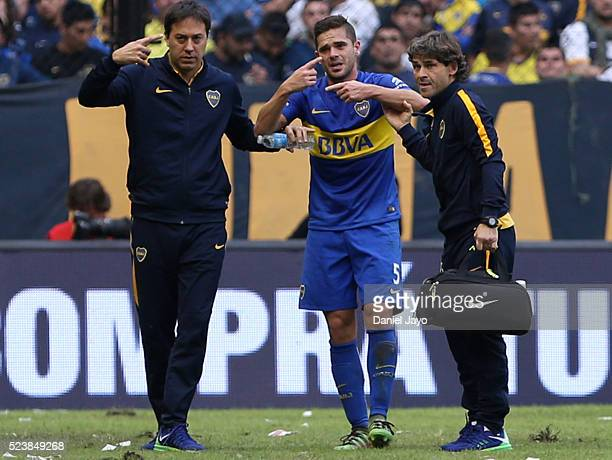 Fernando Gago of Boca Juniors gestures after being injured during a match between Boca Juniors and River Plate as part of Torneo Transicion 2016 at...