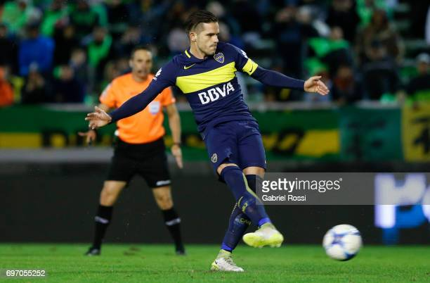 Fernando Gago of Boca Juniors kicks a penalty to score the third goal of his team during a match between Aldosivi and Boca Juniors as part of Torneo...