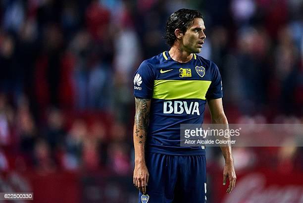 Fernando Gago of Boca Juniors looks on during the match between Sevilla FC vs Boca Juniors as part of the friendly match 'Trofeo Antonio Puerta' at...