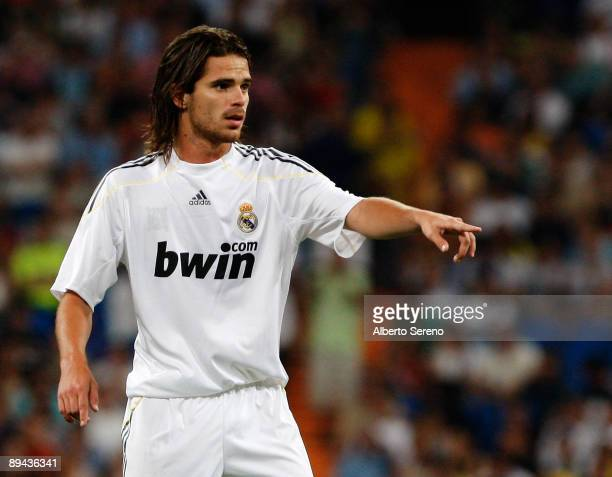 Fernando Gago of Real Madrid signals to his team mates during the Peace Cup match between Real Madrid and Liga Deportiva Universitaria de Quito at...