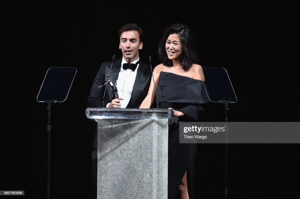 Fernando Garcia and Laura Kim speak onstage during the 2017 CFDA Fashion Awards at Hammerstein Ballroom on June 5, 2017 in New York City.