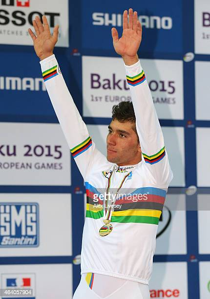 Fernando Gaviria of Colombia celebrates winning gold in the Men's Omnium during Day Four of the UCI Track Cycling World Championships at the National...
