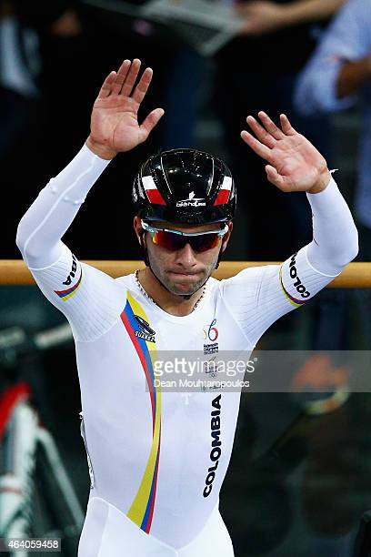 Fernando Gaviria of Colombia celebrates winning the gold medal in the Men's Omnium during day 4 of the UCI Track Cycling World Championships held at...