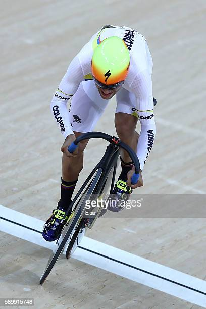 Fernando Gaviria Rendon of Colombia competes in the Cycling Track Men's Omnium Flying Lap on on Day 10 of the Rio 2016 Olympic Games at the Rio...
