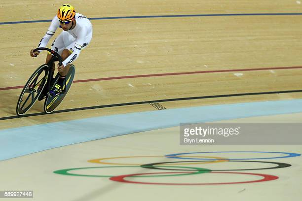 Fernando Gaviria Rendon of Colombia during the Cycling Track Men's Omnium Points Race 66 on Day 10 of the Rio 2016 Olympic Games at the Rio Olympic...