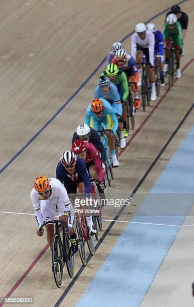 Fernando Gaviria Rendon of Colombia leads during the Men's Omnium Scratch Race 1/6 during on Day 9 of the Rio 2016 Olympic Games at the Rio Olympic...