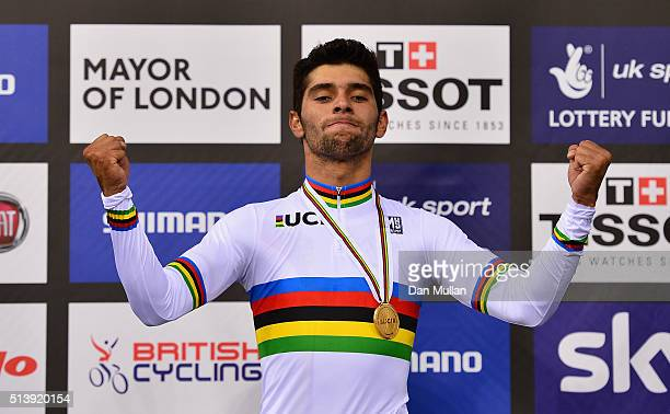 Fernando Gaviria Rendon of Columbia celebrates on the podium after winning the Men's Omnium during Day Four of the UCI Track Cycling World...