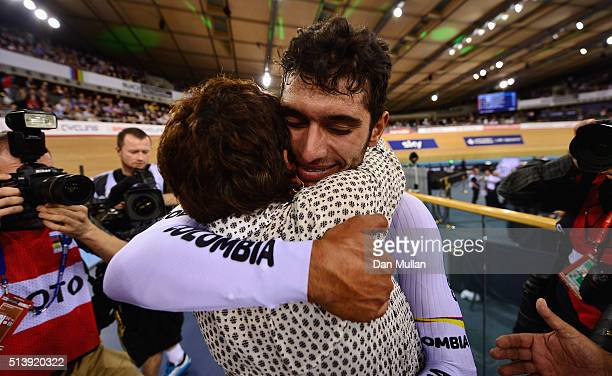 Fernando Gaviria Rendon of Columbia celebrates with his mum after winning the Men's Omnium during Day Four of the UCI Track Cycling World...