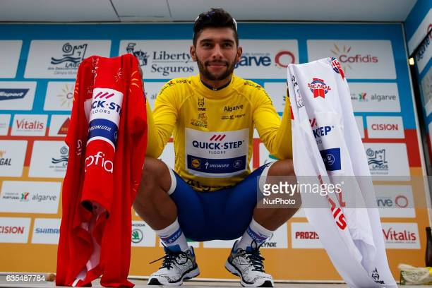 Fernando Gaviria Rendon of QuickStep Floors with red yellow and white jersey after the 1st stage of the cycling Tour of Algarve between Albufeira and...