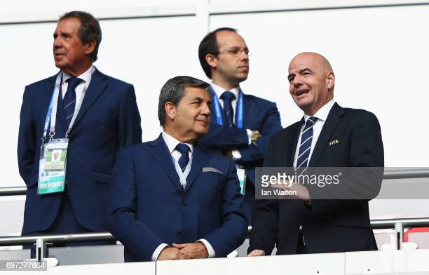Fernando Gomes President of the Portuguese Football Federation speaks to Gianni Infantino FIFA president during the FIFA Confederations Cup Russia...