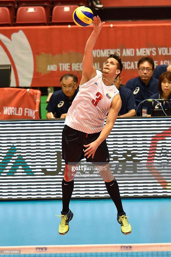 Fernando Gonzalez #3 of Venezuela serves the ball during the Men's World Olympic Qualification game between Venezuela and Canada at Tokyo Metropolitan Gymnasium on June 1, 2016 in Tokyo, Japan.