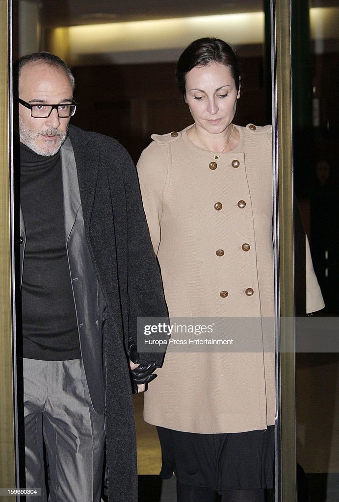 Fernando Guillen Cuervo and Ana Milan attend the funeral chapel for actor Fernando Guillen at Tres Cantos Chapel on January 17, 2013 in Madrid, Spain.