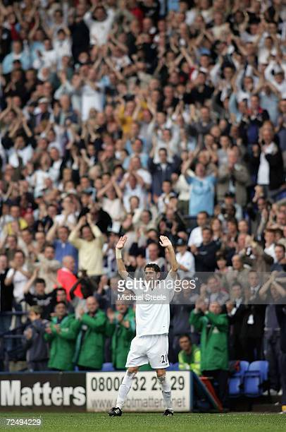 Fernando Hierro of Bolton salutes the home supporters after being substituted in his final game before retirement during the Barclays Premiership...