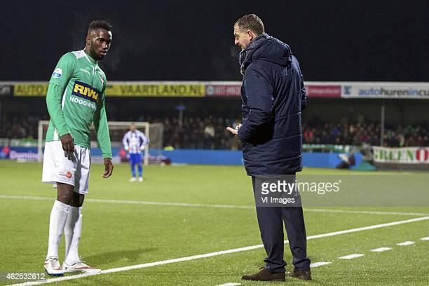 Fernando Lewis of FC Dordrecht coach Ernie Brandts of FC Dordrecht during the Dutch Eredivisie match between FC Dordrecht v SC Heerenveen at the...
