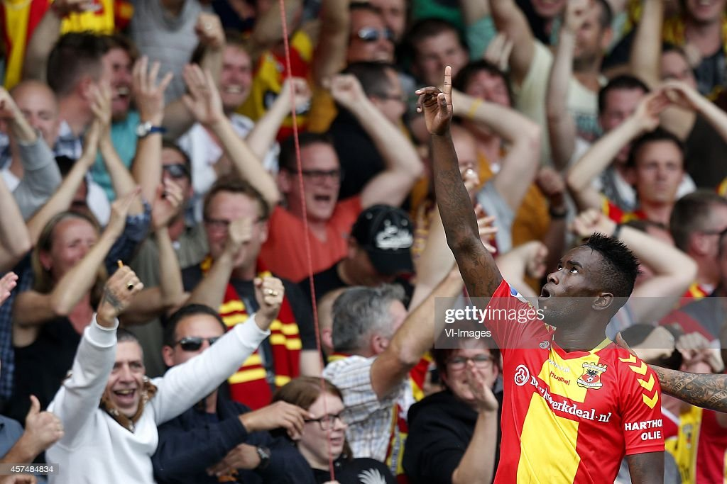 Fernando Lewis of Go Ahead Eagles during the Dutch Eredivisie match between Go Ahead Eagles and PEC Zwolle at The Adelaarshorst on October 19 2014 in...