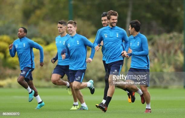 Fernando Llorente and HeungMin Son of Tottenham during the Tottenham Hotspur training session at Tottenham Hotspur Training Centre on October 20 2017...