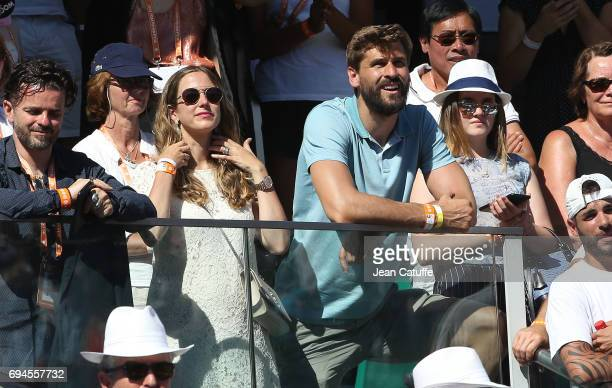Fernando Llorente and his wife Maria Llorente attend the women's final on day 14 of the 2017 French Open second Grand Slam of the season at Roland...