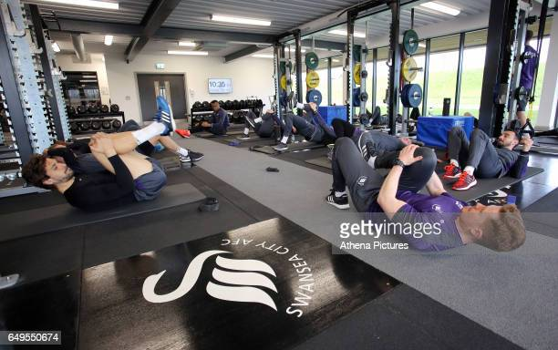 Fernando Llorente and Leon Britton in the gym during the Swansea City Training at The Fairwood Training Ground on March 7 2017 in Swansea Wales
