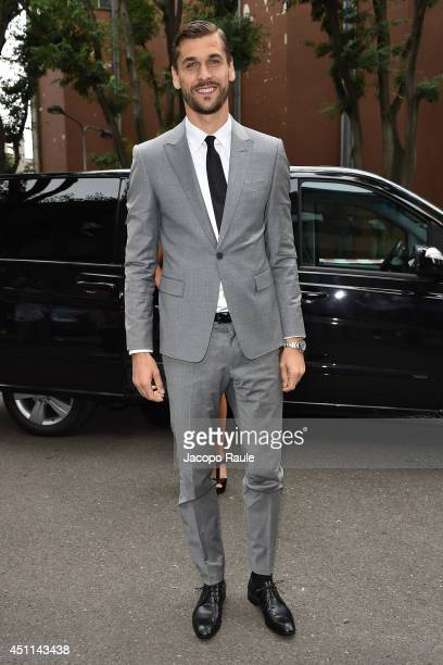 Fernando Llorente arrives at Giorgio Armani show during Milan Fashion Week Menswear Spring/Summer 2015 on June 24 2014 in Milan Italy