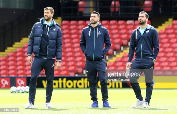 Fernando Llorente Borja Baston and Jordi Amat of Swansea City looks around Vicarage Road Stadium prior to kick off of the Premier League match...