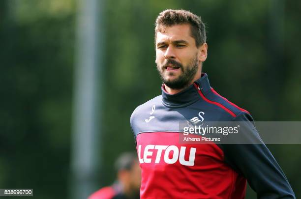 Fernando Llorente in action during the Swansea City Training and Press Conference at The Fairwood Training Ground on August 24 2017 in Swansea Wales