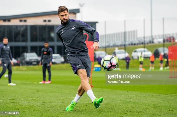 Fernando Llorente in action during the Swansea City Training at The Fairwood Training Ground on April 20 2017 in Swansea Wales