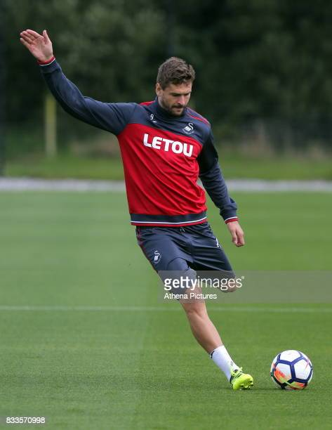 Fernando Llorente in action during the Swansea City Training at The Fairwood Training Ground on August 16 2017 in Swansea Wales
