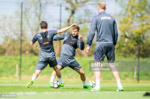 Fernando Llorente in action during the Swansea City training session at The Fairwood training Ground on November 16 2016 in Swansea Wales