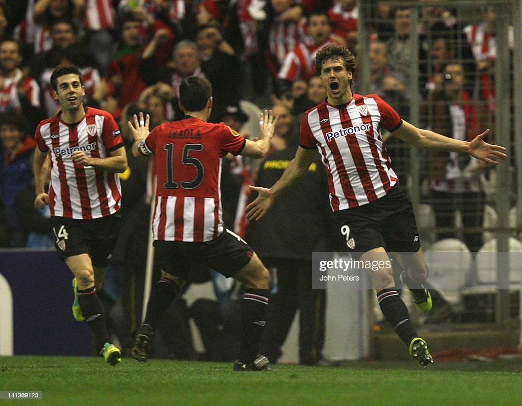Fernando Llorente of Athletic Club of Bilbao (R) celebrates scoring their first goal during the UEFA Europa League Round of 16 second leg match between Athletic Club of Bilbao and Manchester United at San Mames Stadium on March 15, 2012 in Bilbao, Spain.