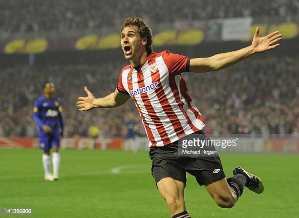 Fernando Llorente of Bilbao celebrates scoring to make it 10 during the UEFA Europa League Round of 16 second leg match between Manchester United and...