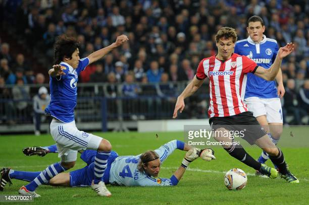 Fernando Llorente of Bilbao scores his team's opening goal during the UEFA Europa Leauge quarter final first leg match between FC Schalke 04 and...