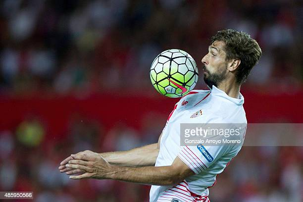 Fernando Llorente of Sevilla FC controls the ball during the La Liga match between Sevilla FC and Club Atletico de Madrid at Estadio Ramon Sanchez...
