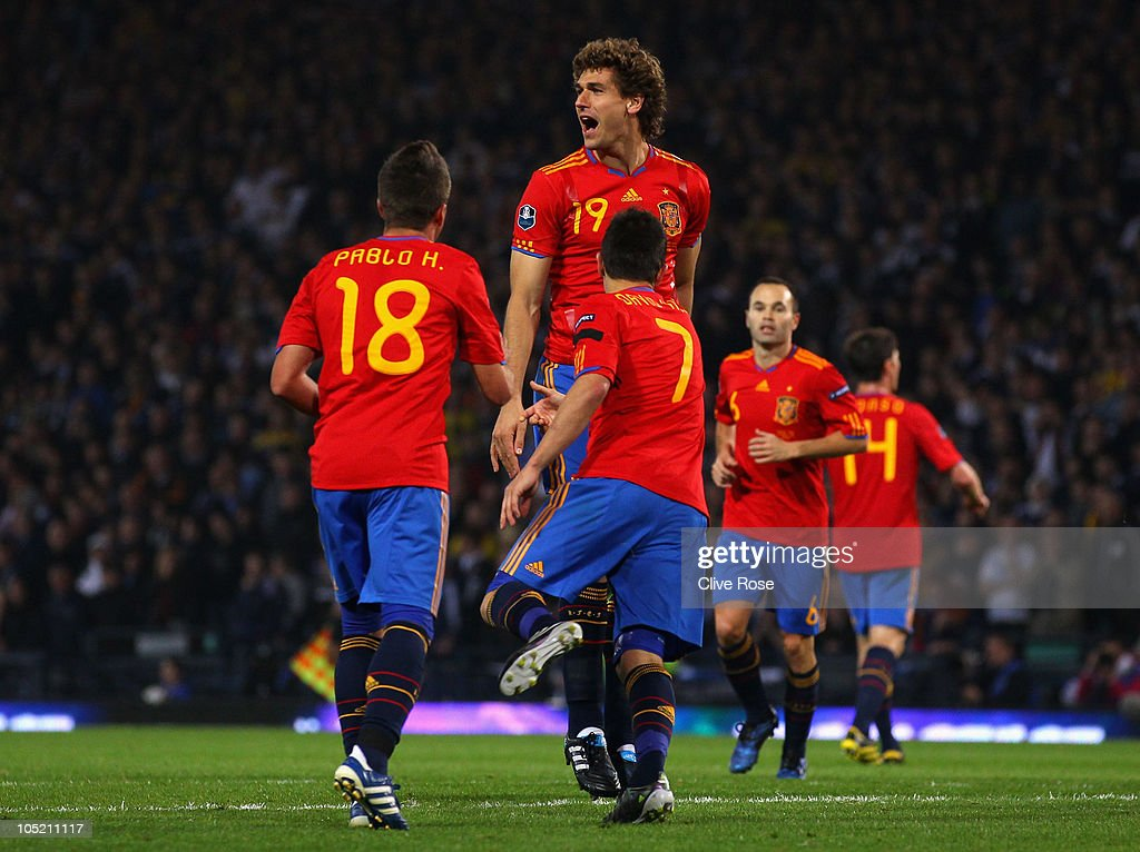 Fernando Llorente of Spain celebrates his goal during the UEFA EURO 2012 Group I qualifying match between Scotland and Spain at Hampden Park on October 12, 2010 in Glasgow, Scotland.