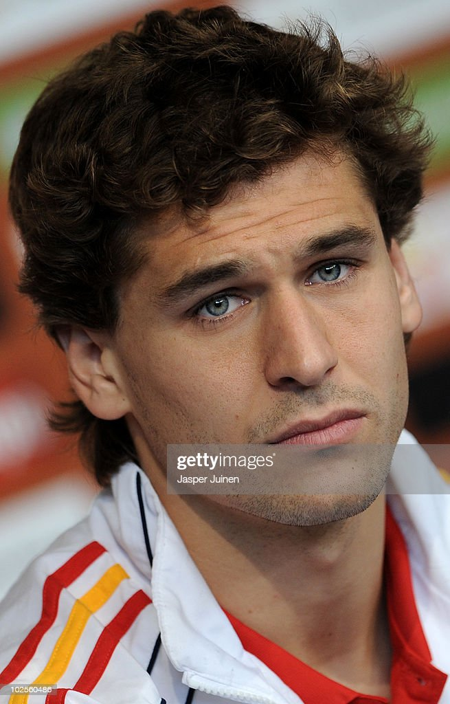 Fernando Llorente of Spain listens to questions asked by the media during a press conference, ahead of their World Cup 2010 Quarter-Final match against Paraguay, on July 1, 2010 in Potchefstroom, South Africa.