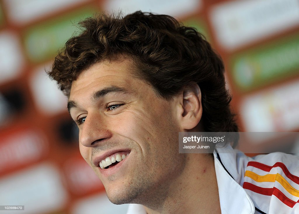 Fernando Llorente of Spain smiles as he listens to questions asked by the media during a press conference, ahead of their World Cup 2010 Quarter-Final match against Paraguay, on July 1, 2010 in Potchefstroom, South Africa.