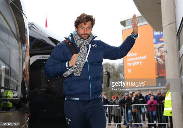 Fernando Llorente of Swansea City arrives at the stadium prior to the Premier League match between Hull City and Swansea City at KCOM Stadium on...