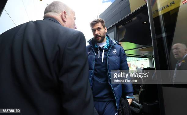 Fernando Llorente of Swansea City arrives at Vicarage Road Stadium prior to kick off of the Premier League match between Watford and Swansea City at...