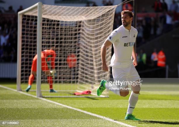 Fernando Llorente of Swansea City celebrates his opening goal during the Premier League match between Swansea City and Stoke City at The Liberty...