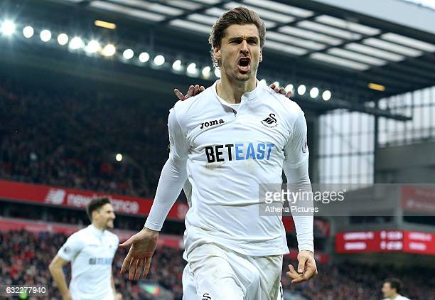 Fernando Llorente of Swansea City celebrates scoring his sides first goal of the match during the Premier League match between Liverpool and Swansea...