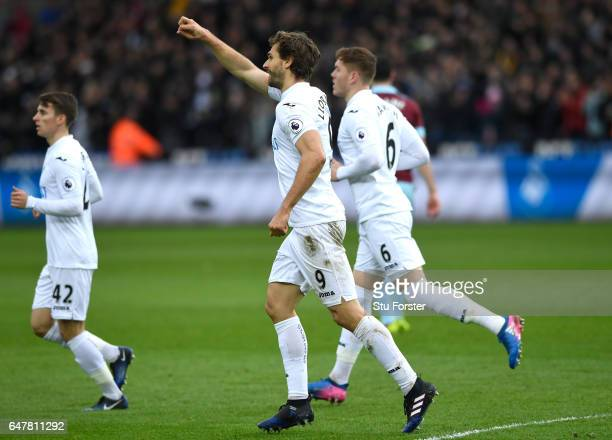 Fernando Llorente of Swansea City celebrates scoring his sides first goal during the Premier League match between Swansea City and Burnley at Liberty...
