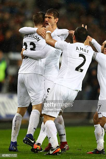 Fernando Llorente of Swansea City celebrates scoring his sides second goal with Gylfi Sigurdsson of Swansea City during the Premier League match...