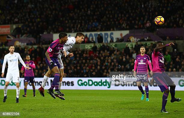 Fernando Llorente of Swansea City celebrates scoring his sides third goal during the Premier League match between Swansea City and Sunderland at the...