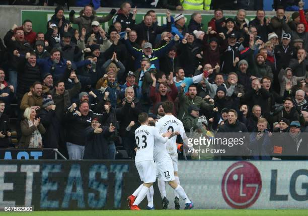 Fernando Llorente of Swansea City celebrates scoring his sides third goal of the match during the Premier League match between Swansea City and...