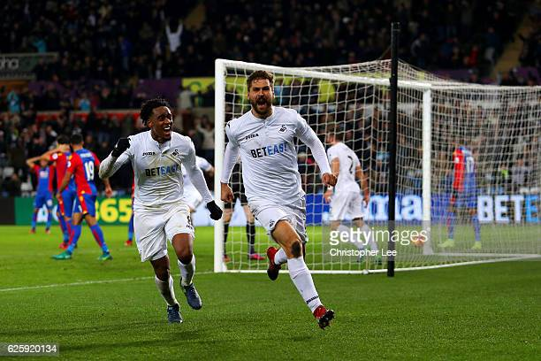 Fernando Llorente of Swansea City celebrates scoring his team's fifth goal during the Premier League match between Swansea City and Crystal Palace at...