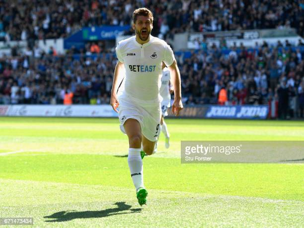 Fernando Llorente of Swansea City celebrates scoring the opening goal during the Premier League match between Swansea City and Stoke City at the...
